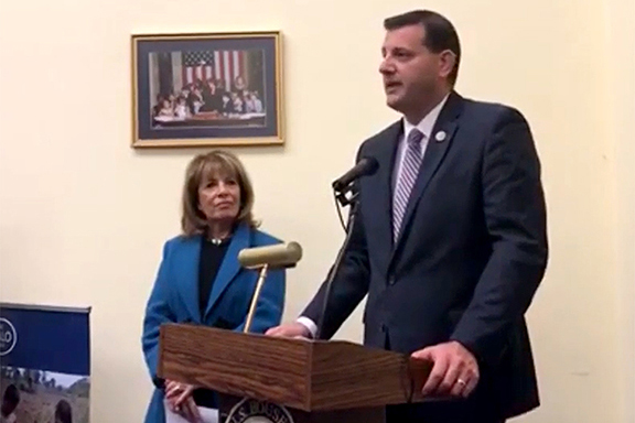Rep. David Valadao and Rep. Jackie Speier at the launch of their bi-partisan Congressional Unexploded Ordnance (UXO)/Demining Caucus