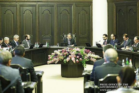 Acting Prime Minister Nikol Pashinyan during a cabinet meeting on Dec. 13, 2018