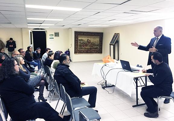 Dr. Sevak Avagyan during his presentation at the Armenian Community Center of Jerusalem.