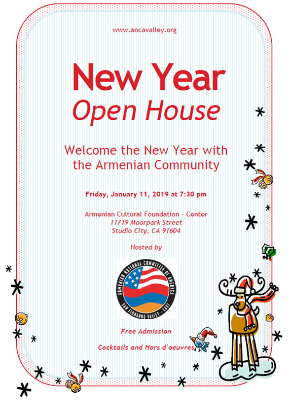ANCA-East San Fernando Valley will host a New Year open house