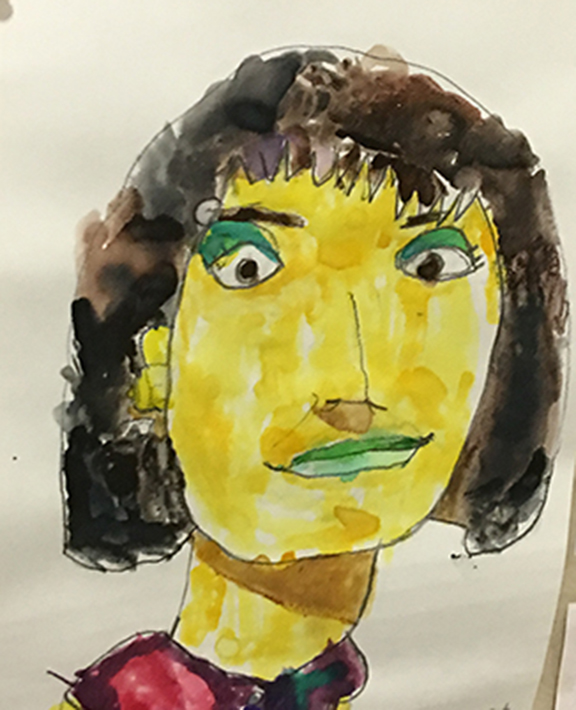 A self portrait of the author's twin sister, Susan, a person with disabilities