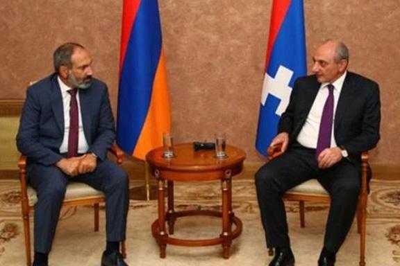 Acting Prime Minister Nikol Pashinyan with Artsakh President Bako Sahakian