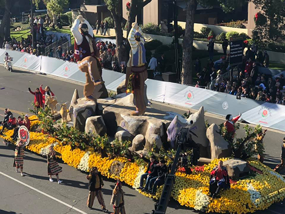 """Carrying the theme """"Chanting Stones: Karahunj,"""" the Armenian rose float celebrated the greatness of Armenian culture"""