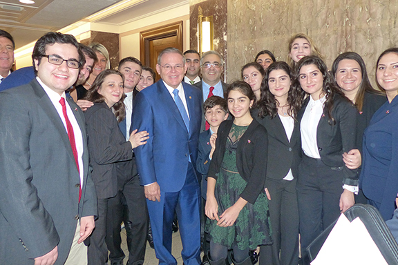 Senator Robert Menendez (D-NJ) with the ANCA team of veteran and youth advocates during the January 3rd swearing-in of the 116th Congress.
