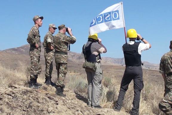 OSCE representatives on a monitoring mission on the Artsakh-Azerbaijan border