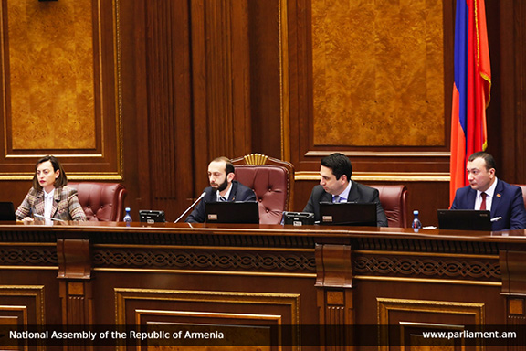 The newly-elected deputy parliament speakers flank parliament speaker Ararat Mirzonyan (second from left)