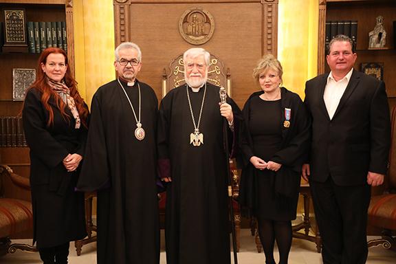 From l to r: Nancy Dounanian-Panossian, Western Prelate Archbishop Moushegh Mardirossian, Catholicos Aram I, Metti Doumanian, Dr. Greg Doumanian