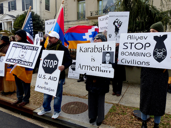 Greater Washington DC community members demand justice for the anti-Armenian pogroms in Sumgait, Kirovabad, Baku and Maragha at the February 17th protest organized by the Washington, DC AYF Ani Chapter