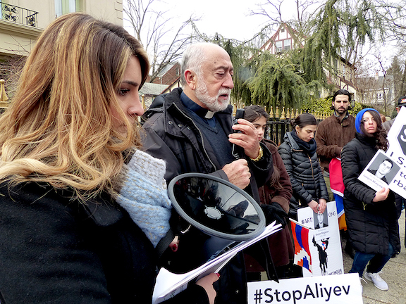 Holy Cross Armenian Church pastor Fr. Sarkis Aktavoukian leads a prayer in memory of the victims of the anti-Armenian pogroms in Sumgait, Kirovabad, Baku, and Maragha and all those who lost their lives in defense of Artsakh freedom.