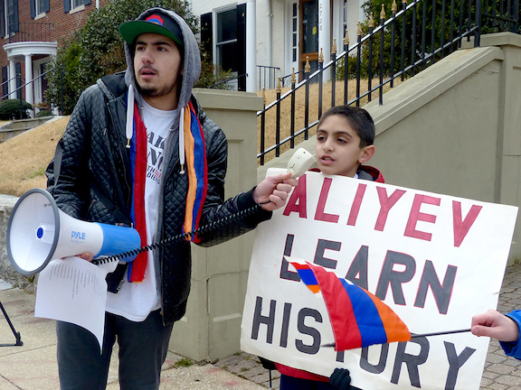 AYFers teaching the next generation to lead community calls for justice during the protest demanding justice for the anti-Armenian pogroms in Sumgait, Kirovabad, Baku, and Maragha.