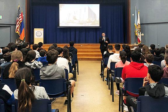 Museum Development Director Shant-Sahakian presents project to Chamlian Armenian School students