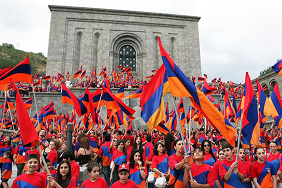 Young Armenians waving the tri-color in Yerevan