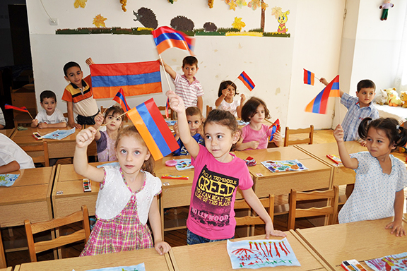 Students at a school in Armenia