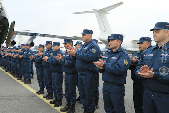 A farewell ceremony at the Yerevan airport before the deployment of a military humanitarian mission to Syria on Feb. 8, 2019