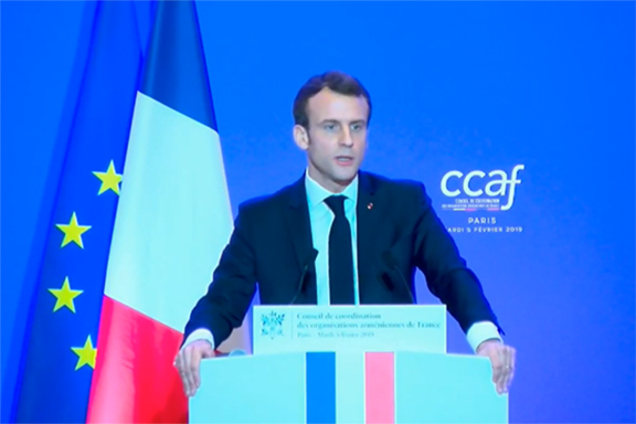 French President Emmanuel Macron speaks at the CCAF annual gala on Feb, 5 in Paris