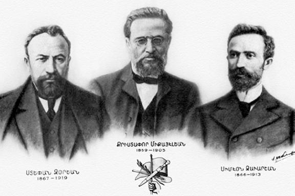 The founding fathers of the ARF from left: Stepan Zorian (Rosdom), Kristapor Mikaelian, Simon Zavarian