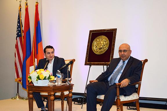 Armenian lawmaker Mkhitar Hairapetyan (right) with Armenia's Consul General to L.A. Dr. Armen Baibourtian