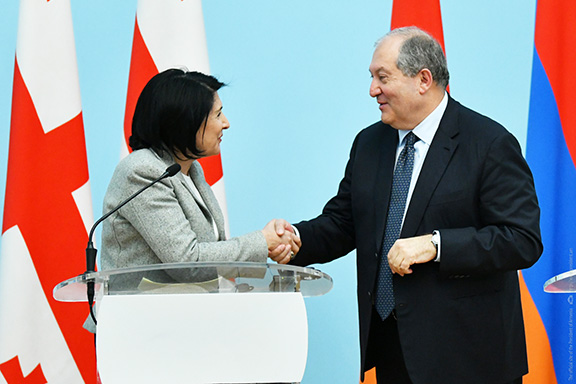 President Salome Zourabichvili of Georgia meets with his Armenian counterpart Armen Sarkissian in Yerevan on March 13, 2019
