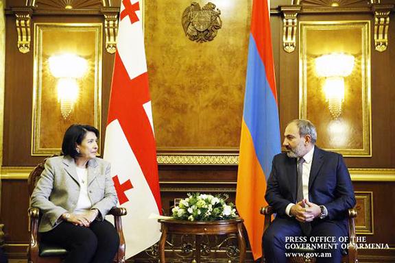 Georgia's President Salome Zourabichvili with Prime Minister Nikol Pashinyan