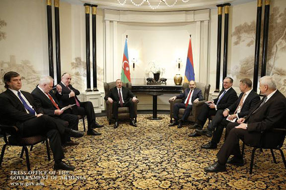 Pashimyan and Aliyev met in an expanded format that, in addition to the OSCE Minsk Group co-chairs  included the participation of the Armenian and Azerbaijani foreign ministers Zohrab Mnatsakanyan and Elmar Mammadyarov, as well as Andrzej Kasprzyk, the Personal Representative of the OSCE Chairperson-in-Office