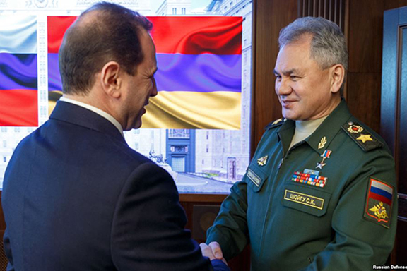 Armenia's Defense Minister Davit Tonoyan with his Russian counterpart Sergey Shoygu on Feb. 8 in Moscow