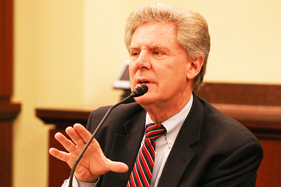 Frank-Pallone-podium.jpg:  Rep. Frank Pallone (D-NJ) leads Armenian Caucus call for $70 million in targeted aid to Artsakh and Armenia.