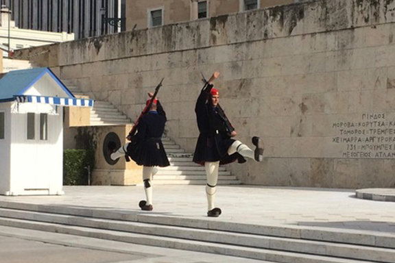 The changing of the guards at Syntagma Square