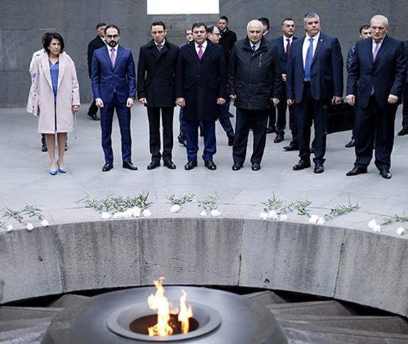 Georgia's President Salome Zourabichvili visits the Dzidzernagapert Memorial Monument