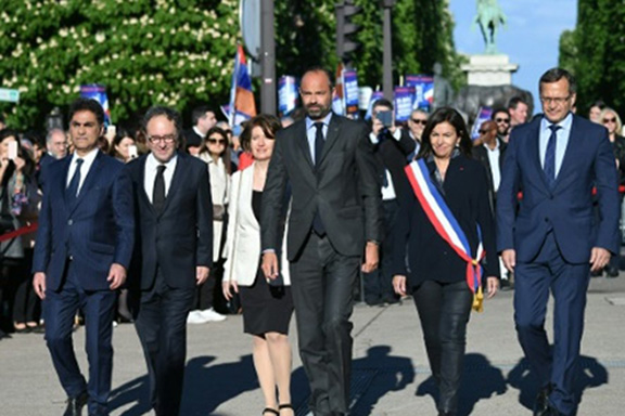 French Prime Minister Édouard Philippe  leads a march commemorating  the Armenian Genocide in Paris