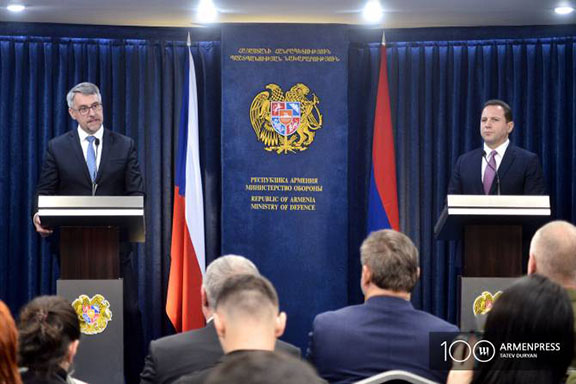 Lubomir Metnar, the Czech Republic Defense Minister (left) at a press briefing with his Armenian counterpart Davit Tonoyan on April 9