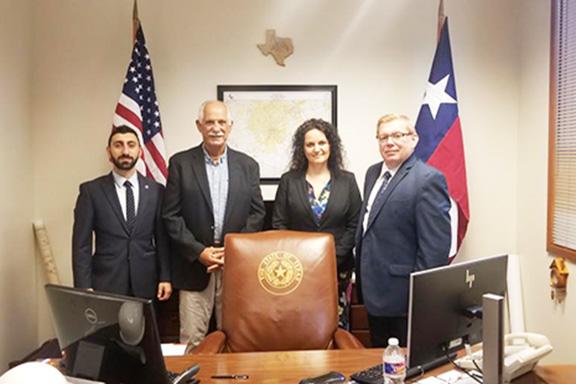 From l to r: ANCA-WR Government Relations Coordinator Serob Abrahamian, Texas Representative Leo Pacheco, activist Anna Astvatsaturian Turcotte, and local activist Albert Davitian.