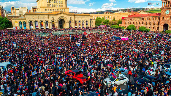 A scene from the massive protests last year that led to the toppling of the Serzh Sarkisian regime