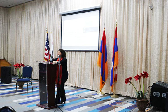 Houri Berberian, the Meghrouni Family Presidential Chair in Armenian Studies at UCI, presenting the lives of Armenian Women in the Iranian and Ottomnan Empires