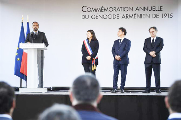 French Prime Minister Édouard Philippe  speaks at a Genocide commemoration in Paris City Hall