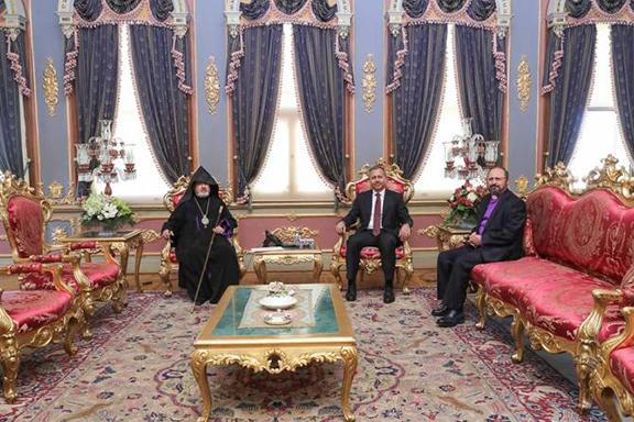Istanbul Governor Ali Yerlikaya (center) met with Archbishop Aram Ateshian (left) and Bishop Sahak Mashalyan (right)