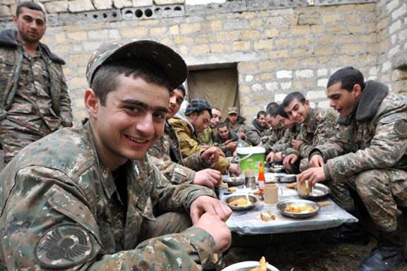 Armenian soldiers on break (Photo by Armenpress)