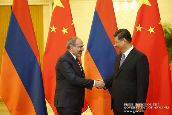 Prime Minister Nikol Pashinyan meets with President Xi Jinping in Beijing on May 14