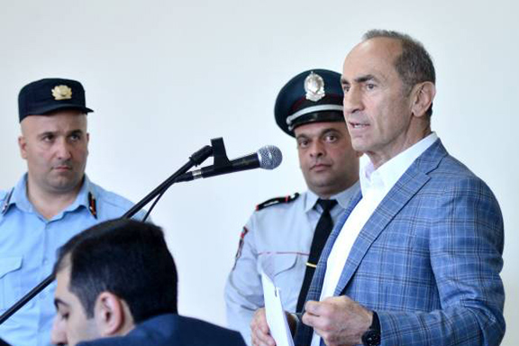 Former president Robert Kocharian addresses the court during the fourth day of his trial on May 16 (Photo by Armenpress)