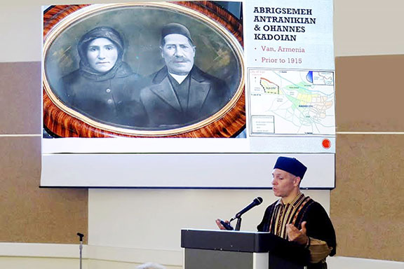 Dr. Matthew Jendian displays a picture of his great grandparents, Abrigsemeh and Ohannes Antranikian in Van, Armenia in 1915