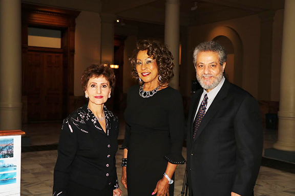 Judge Thelma Wyatt Cummings Moore (center) with ANC Georgia's Dr. Vardui Agasarkisian-Jinian (left) and Dr. Sarkis Agasarkisian (right) at the Armenian Genocide Commemoration at the Georgia State Capitol