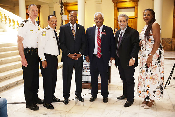 Major Rick Mason, Special Enforcement Section Commander of theAtlanta Police; Patrick Labat, Chief of the Atlanta Office of Corrections; Keith Gammage, Fulton County Georgia Solicitor General; Representative Roger Bruce of the Georgia House of Representatives, ANC Georgia Chairman Dr. Sarkis Agasarkisian; and, Rep. Debra Bazemore of the Georgia House of Representatives at the Armenian Genocide Commemoration at the Georgia State Capitol