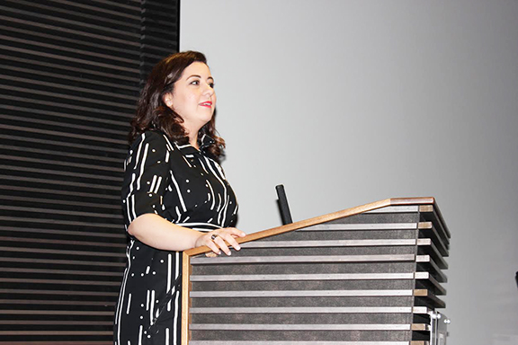Panel moderator Aline Barsoumian
