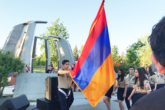 Presentation of colors at Fresno State University in front of the Genocide Monument
