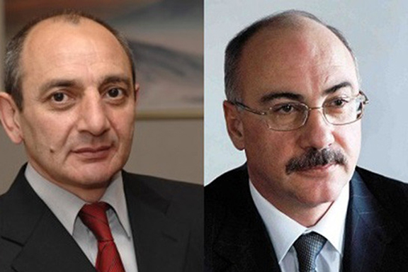 Current and former Artsakh presidents from left Bako Sahakian and Arkady Ghoukassian