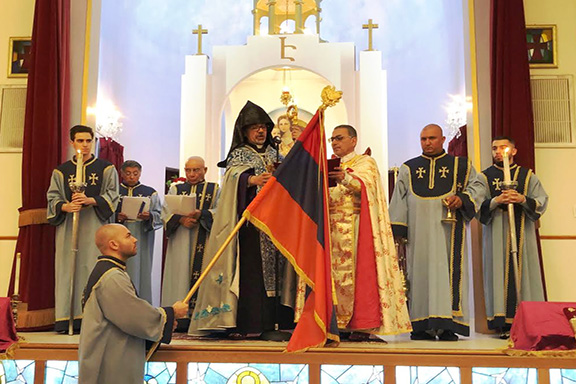 Western Prelate Moushegh Mardirossian presides over the Divine Liturgy at Holy Marters Armenian Church in Encino