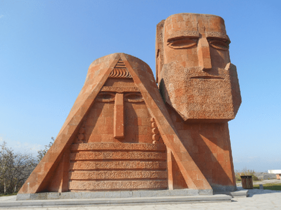 """The """"We are Our Mountains"""" monument in Artsakh"""