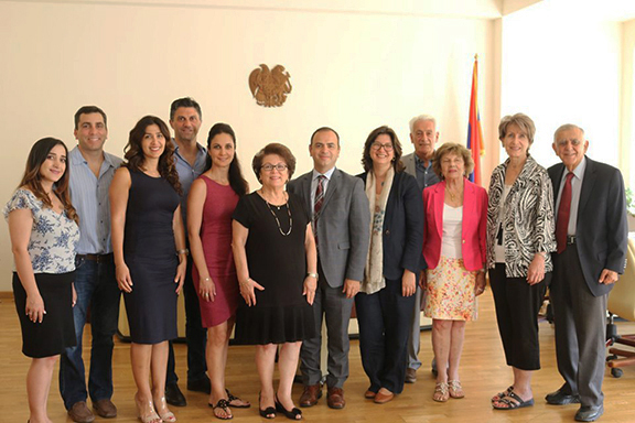 The Armenian Educational Foundation delegation met with Commissioner for Diaspora Affairs Zareh Sinanyan and Chief of Staff Sara Anjargolian to discuss Armenia-Diaspora relations on July 10