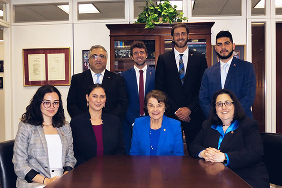The ANCA D.C. team with Californian members of the Leo Sarkisian Internship following a meeting with Senator Feinstein to discuss Armenia and Artsakh related issues this past June