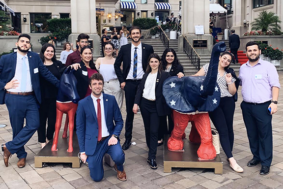 The ANCA Leo Sarkisian Interns supporting bi-partisanship during their first week next to the iconic symbols of the American Democratic and Republican parties