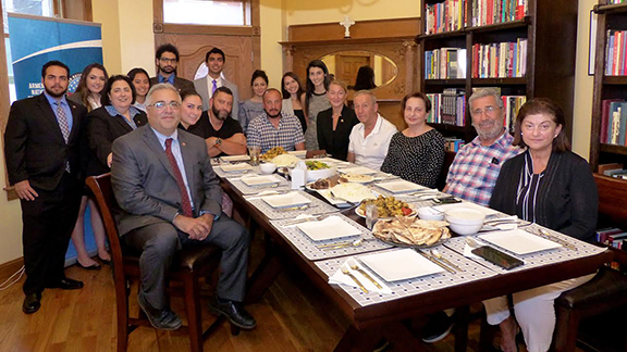 The Melkonian and Avetisyan families visit with the ANCA team and summer interns at the Aramian House, reminiscing about the life and living legacy of Maral Melkonian Avetisyan